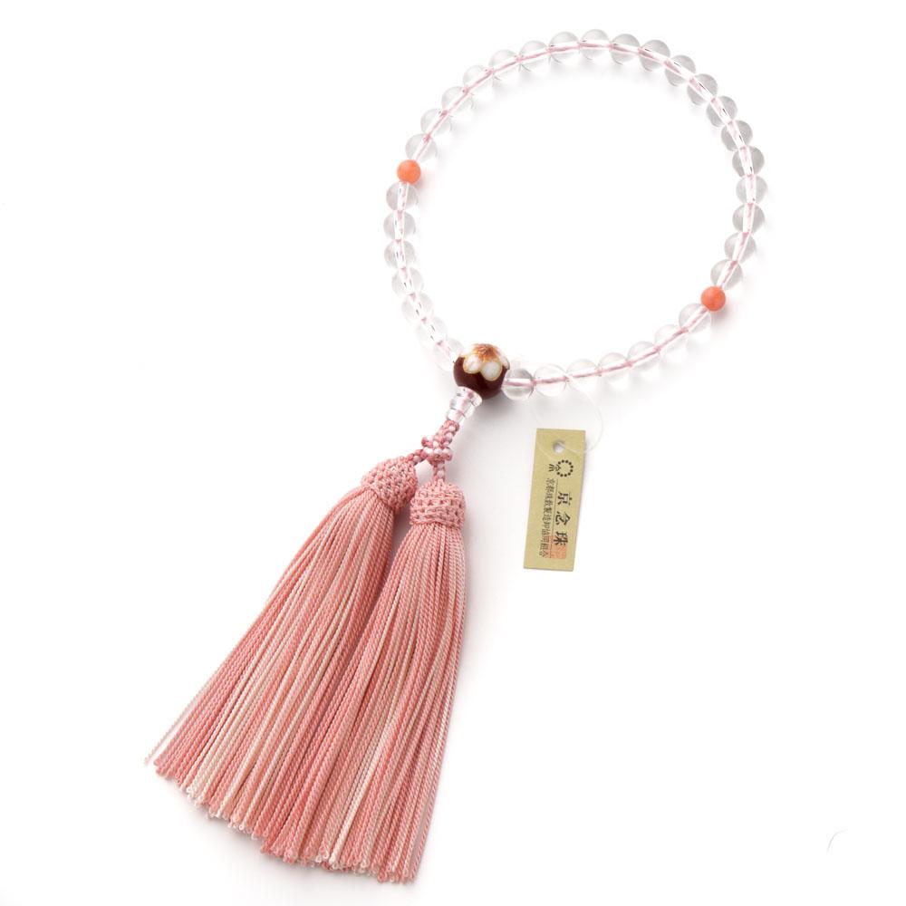 数珠・女性用 本水晶 8mm 清水焼(桜) 正絹房