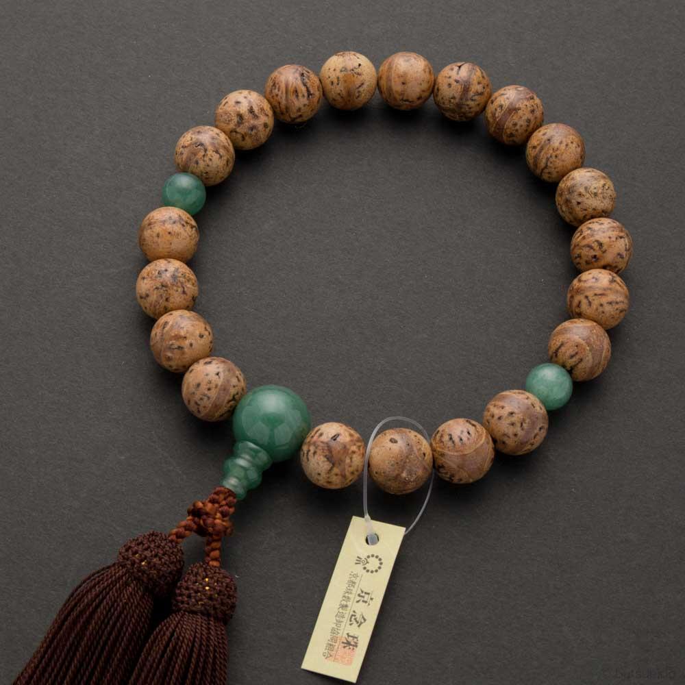 数珠・男性用 龍眼菩提珠20玉 印度翡翠仕立 正絹房