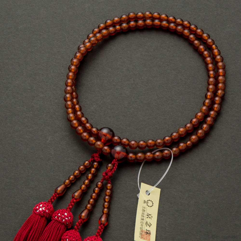 数珠・女性用 オレンジガーネット二連 正絹蓬莱房
