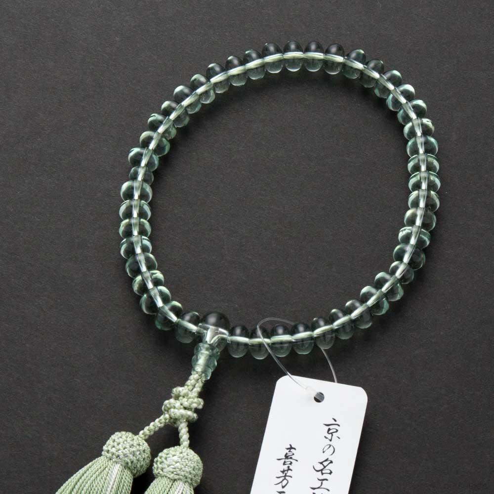 数珠・女性用 グリーンクォーツ みかん玉 共・上仕立
