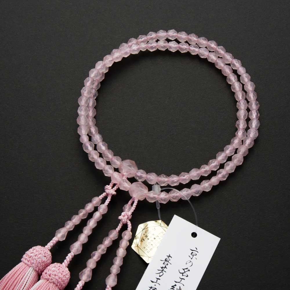 数珠・女性用 紅水晶切子(共) 二連