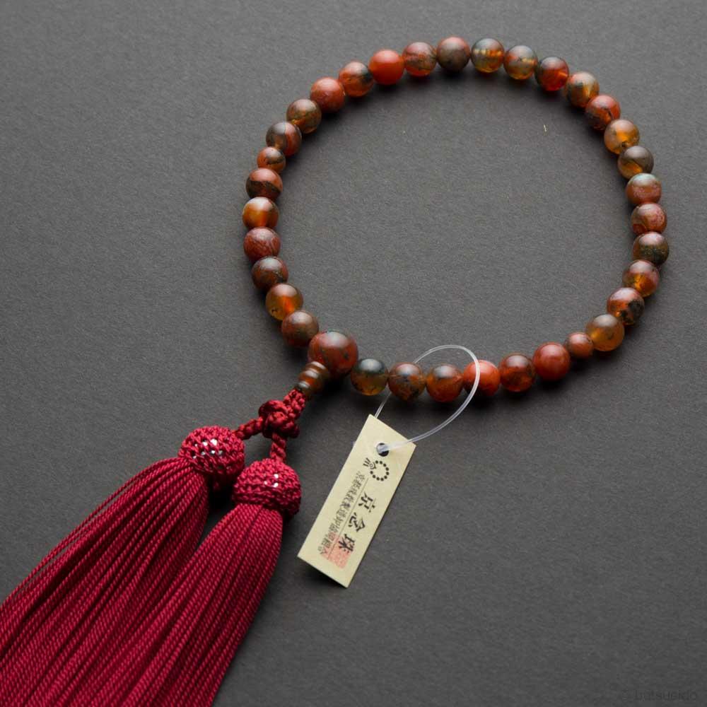 数珠・女性用 赤苔瑪瑙 7.5mm玉(共)上仕立 正絹房 桐箱入