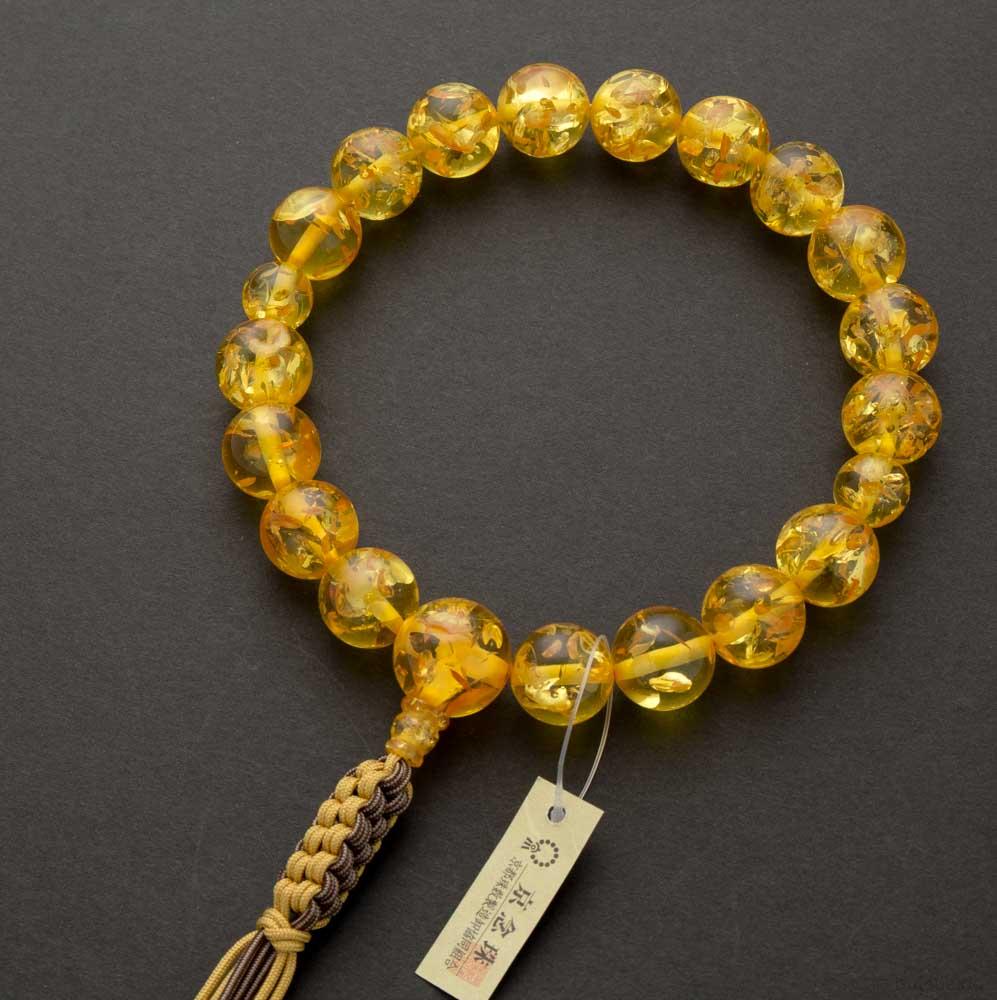 数珠・男性用 プレス琥珀18玉 共仕立 八本組正紐房