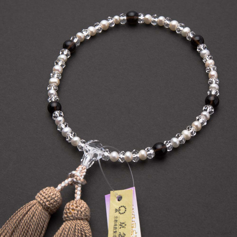 数珠・女性用 淡水真珠・水晶切子・茶水晶コンビ 正絹房 桐箱入