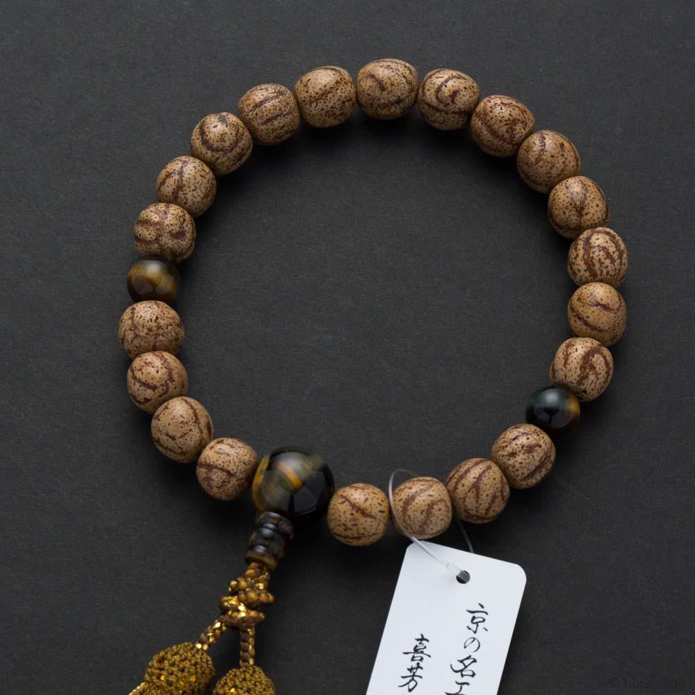 数珠・男性用 縞星月菩提樹 21玉 混虎目石仕立 正絹房