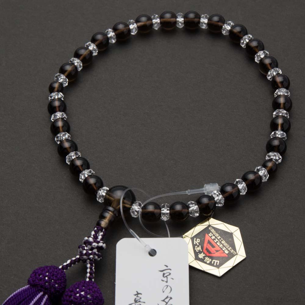 数珠・女性用 茶水晶 8mm 水晶コンビ 正絹房