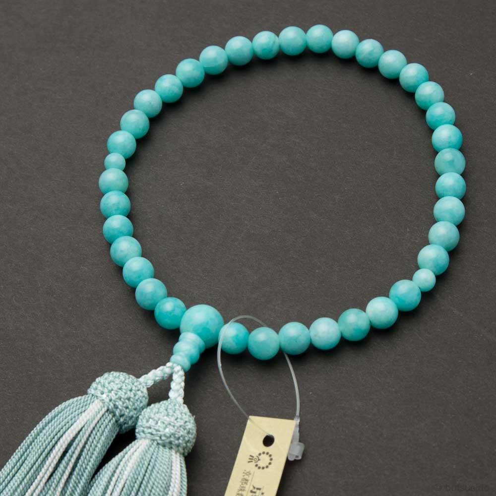 数珠・女性用 アマゾナイト 7mm玉 正絹蛍房