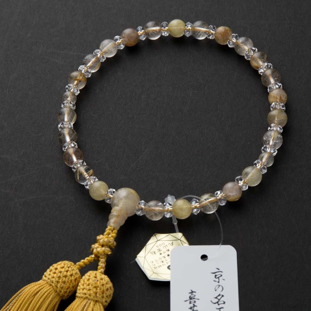 数珠・女性用 金線水晶8mm・水晶切子コンビ