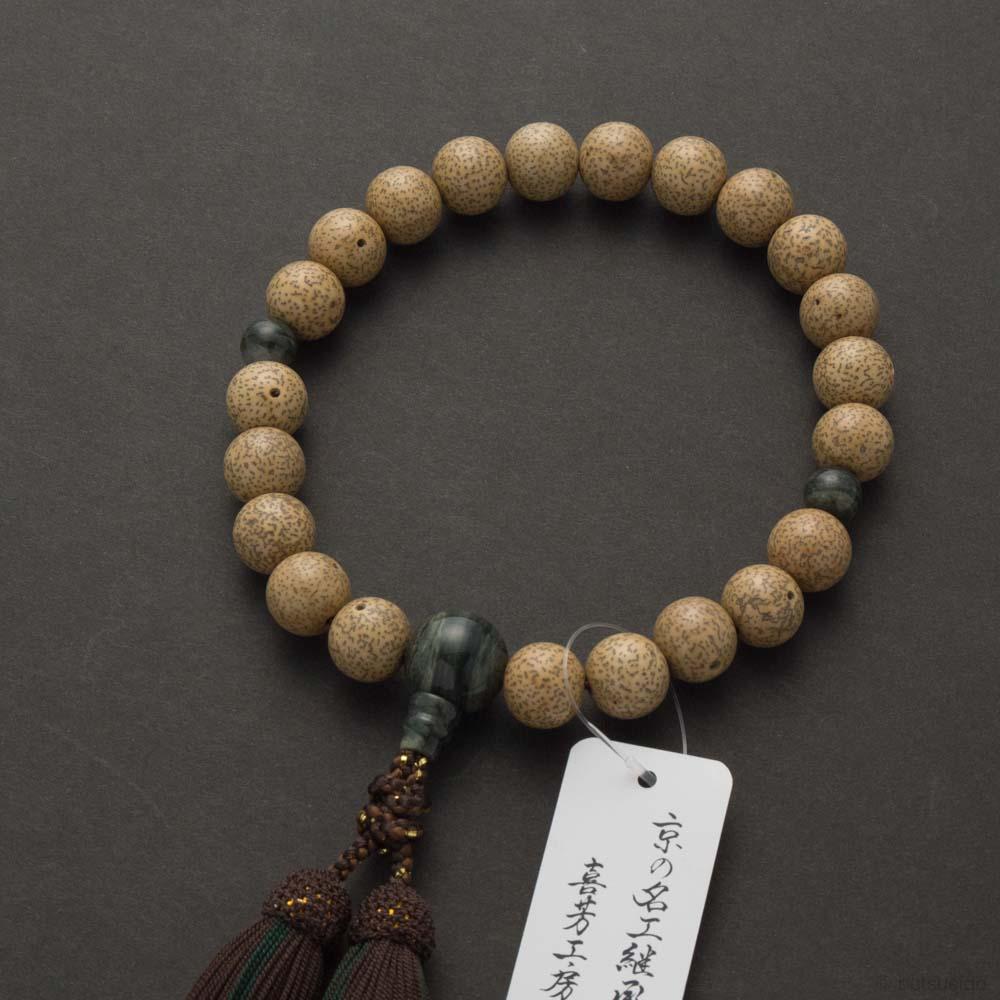 数珠・男性用 星月菩提樹22玉 緑紋石仕立 正絹房