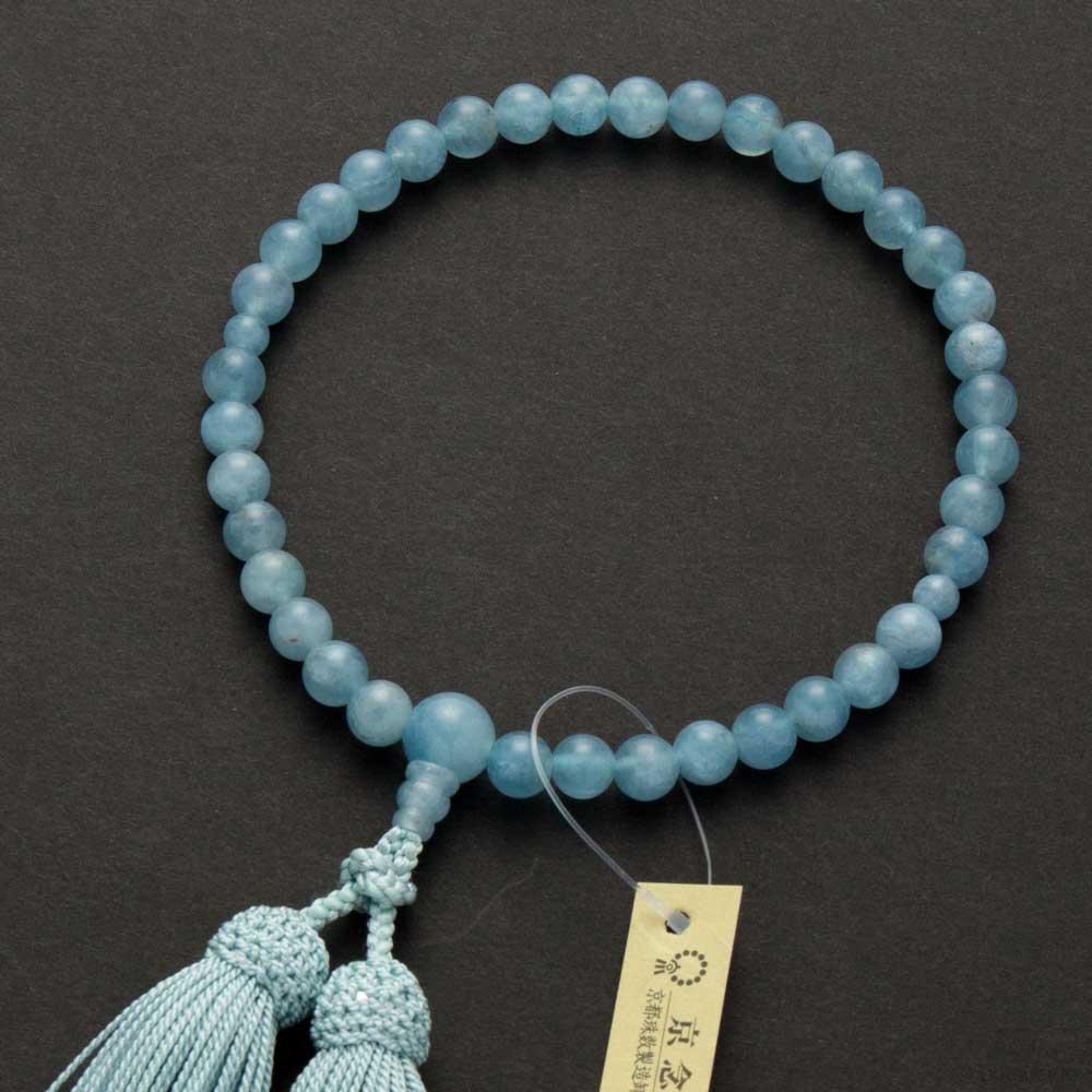 数珠・女性用 特上アクアマリン 7mm 共仕立 正絹房