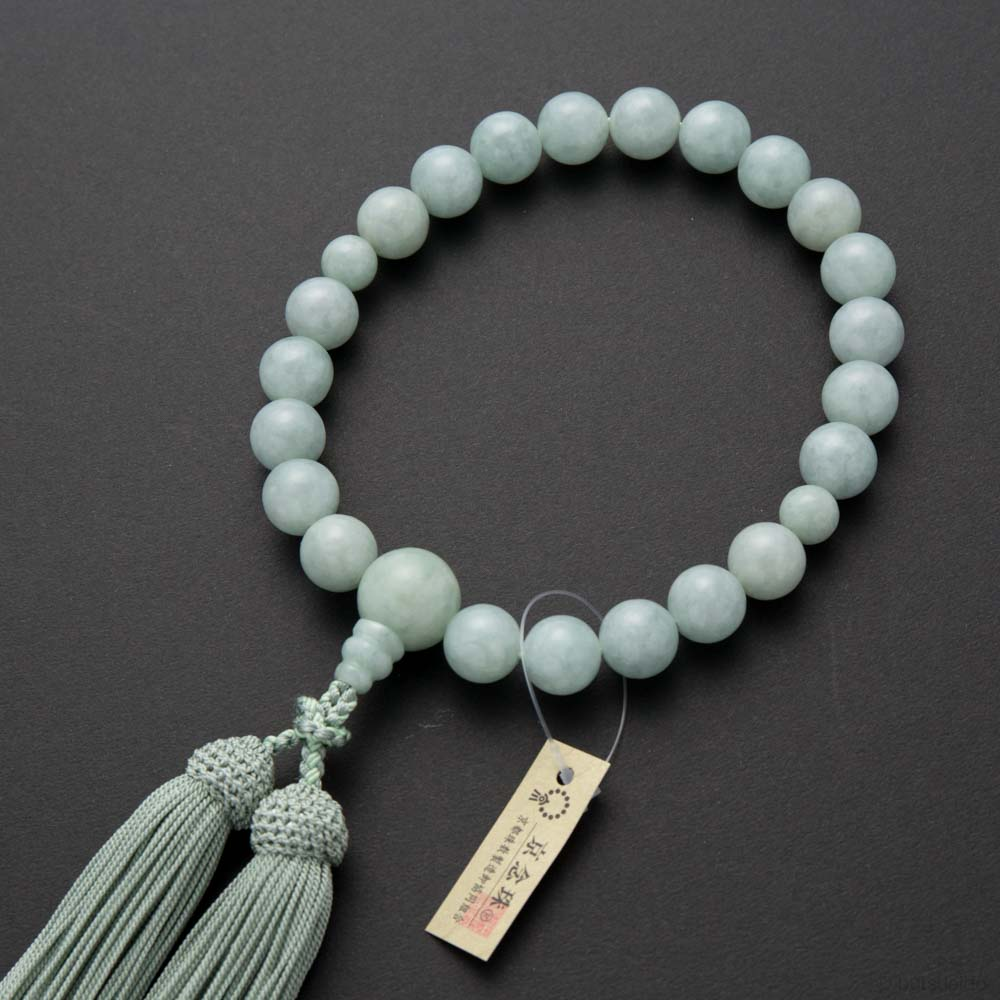 数珠・男性用 ビルマ翡翠22玉 共仕立 正絹房