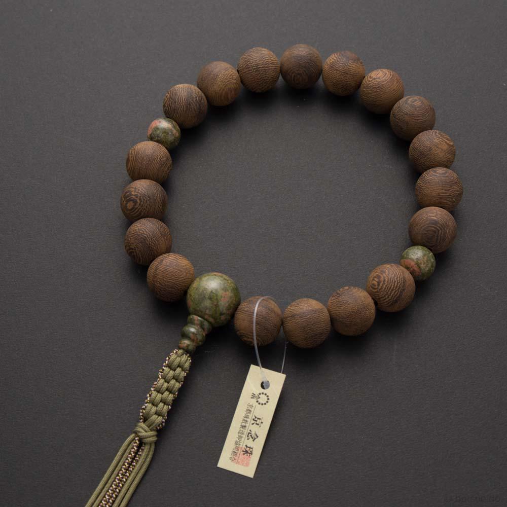 数珠・男性用 素挽鉄刀木18玉 エピドート仕立 六本組紐