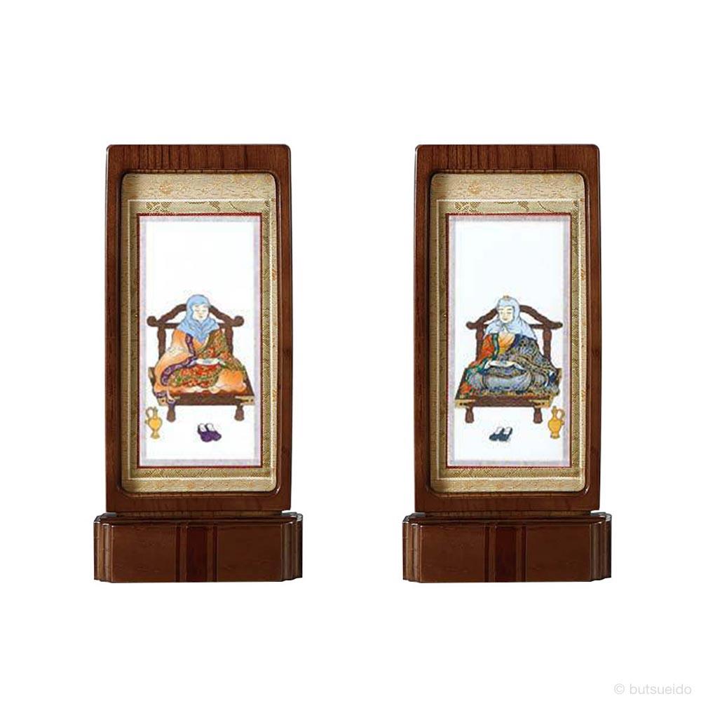 仏壇掛軸・スタンド掛軸 脇侍 天台宗仕様 ウォールナット色 (小)