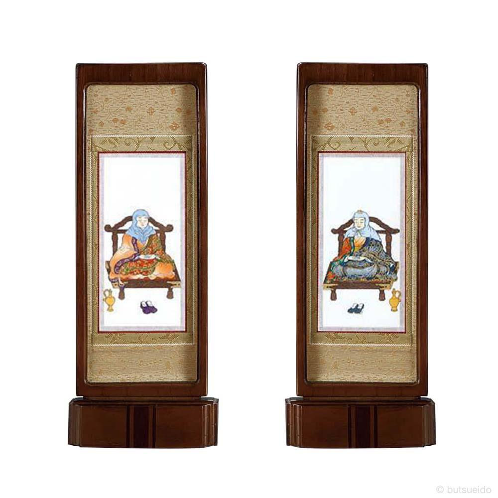 仏壇掛軸・スタンド掛軸 脇侍 天台宗仕様 ウォールナット色 (中)