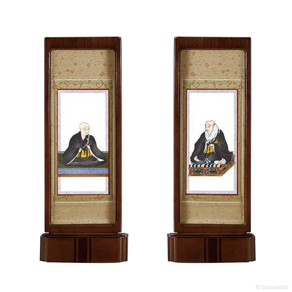 仏壇掛軸・スタンド掛軸 脇侍 浄土真宗西仕様 ウォールナット色 (中)