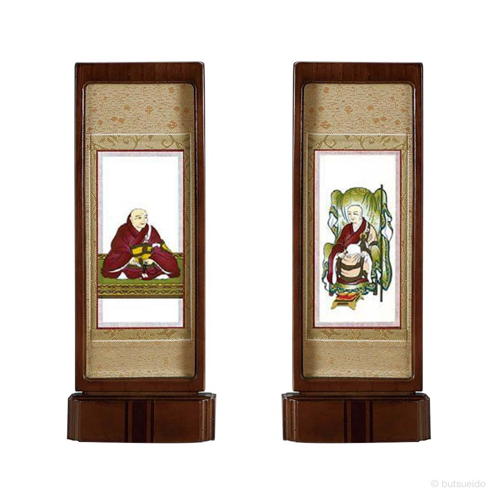 仏壇掛軸・スタンド掛軸 脇侍 臨済宗妙心寺派仕様 ウォールナット色 (中)