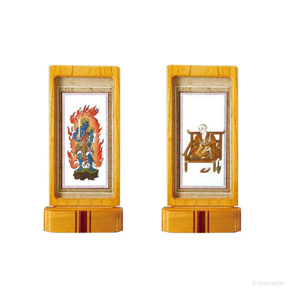 仏壇掛軸・スタンド掛軸 脇侍 真言宗仕様 ライトブラウン (小)