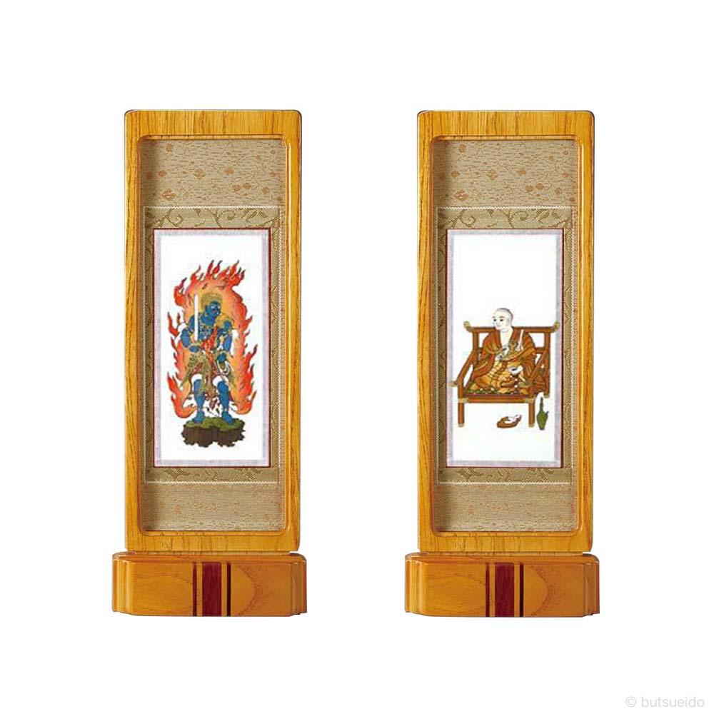 仏壇掛軸・スタンド掛軸 脇侍 真言宗仕様 ライトブラウン (中)