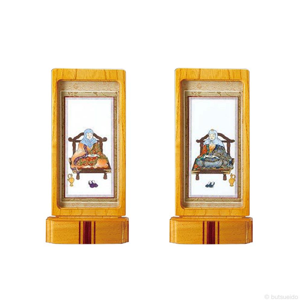 仏壇掛軸・スタンド掛軸 脇侍 天台宗仕様 ライトブラウン (小)