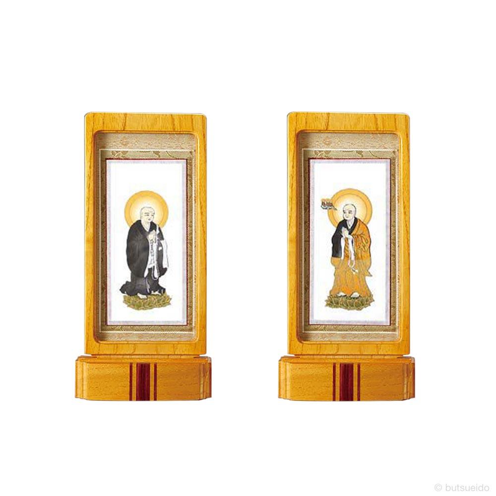 仏壇掛軸・スタンド掛軸 脇侍 浄土宗仕様 ライトブラウン (小)
