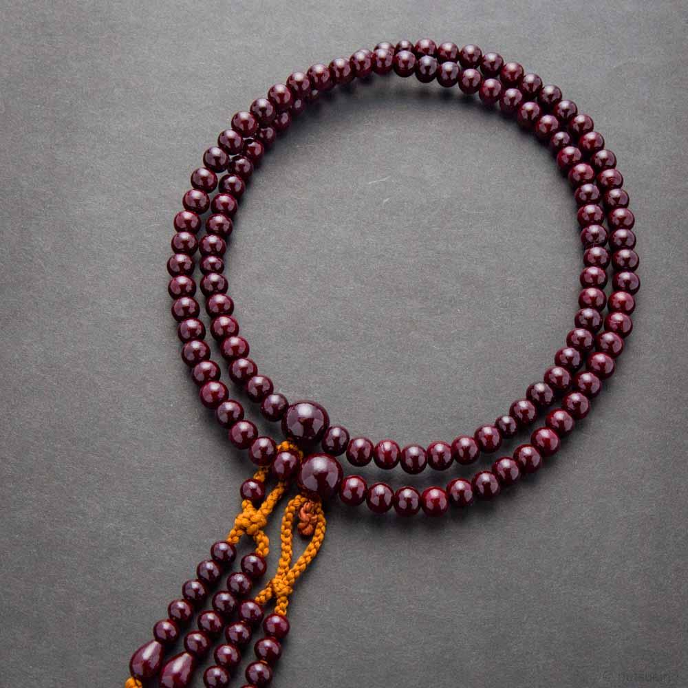 数珠・真言宗仕様 男性用 紫檀 共仕立 正絹房 桐箱入