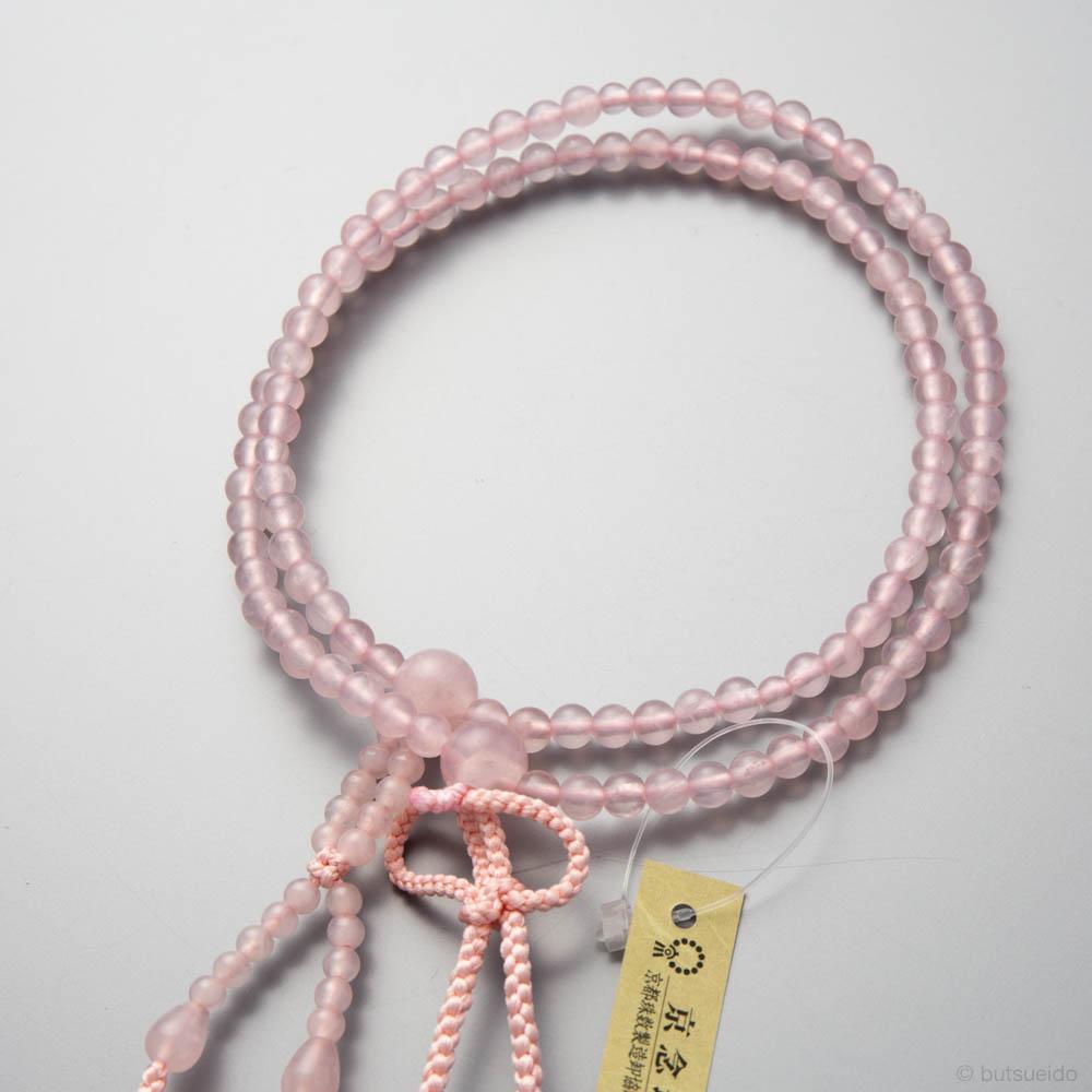 数珠・浄土真宗仕立 女性用 紅水晶八寸(共)5mm 正絹房 桐箱入