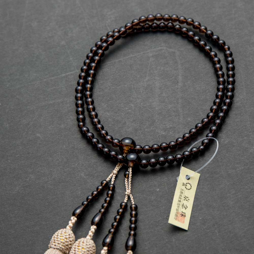 数珠・真言宗仕立 女性用 茶水晶 5mm玉 振分8寸 二連 正絹房