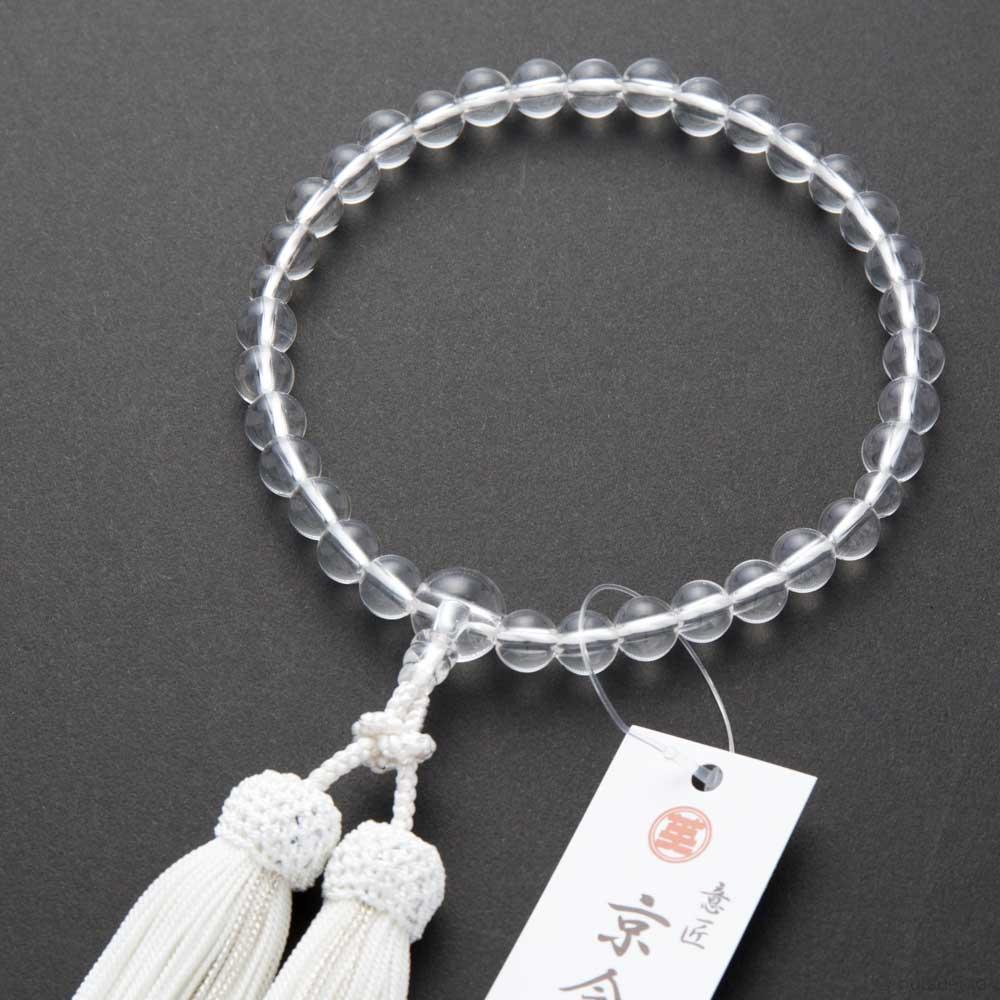 数珠・女性用 水晶 丸中玉(8mm玉) 共仕立 正絹房 桐箱入