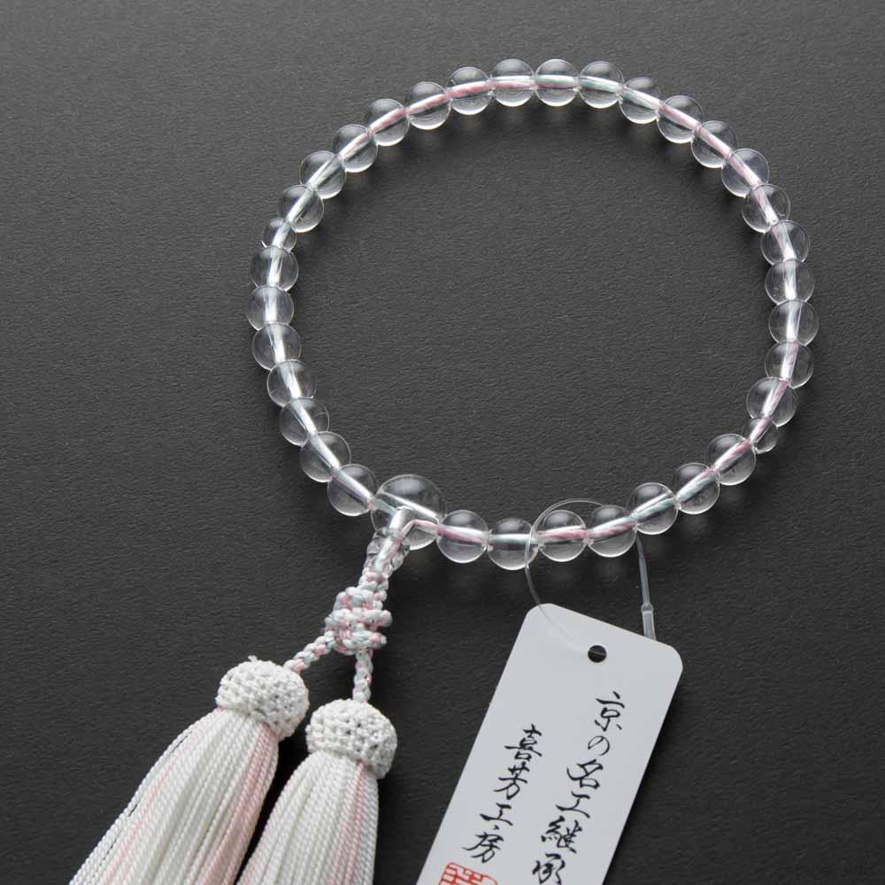 数珠・本水晶8mm玉 いろは通し(水色と桃色) 正絹房