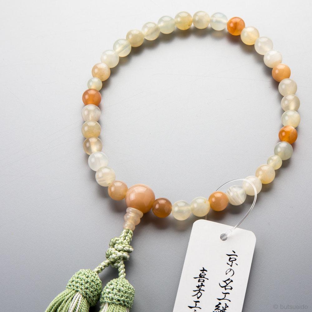 数珠・女性用 ムーンストーン8mm玉ミックス 上仕立 正絹房