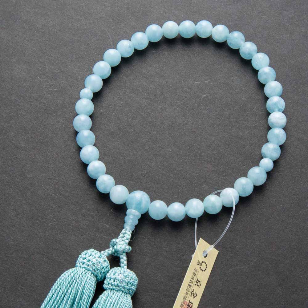 数珠・女性用 アクアマリン8mm玉 共・上仕立 正絹房