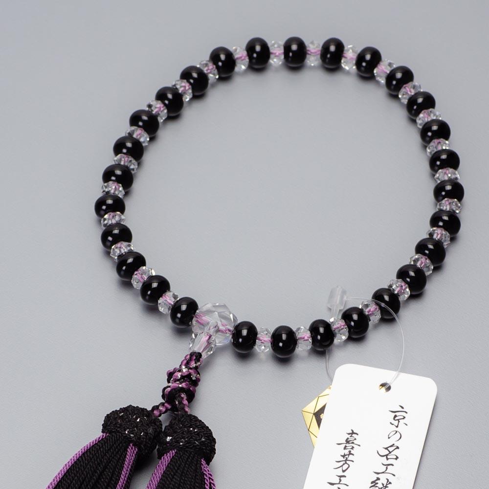 数珠・女性用 黒オニキスみかん玉・本水晶平切子コンビ