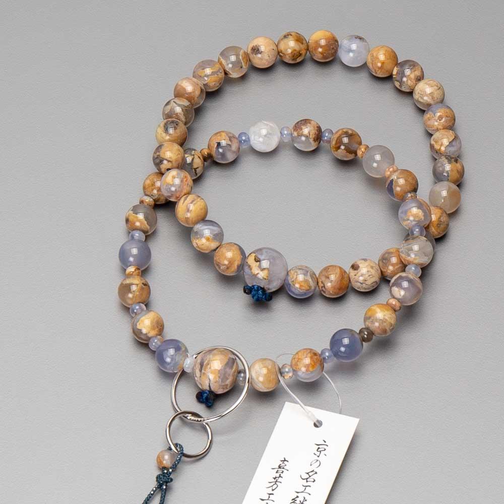数珠・浄土宗仕立 男性用 アース瑪瑙(共・上仕立)かがり梵天房 銀輪入(限定品)