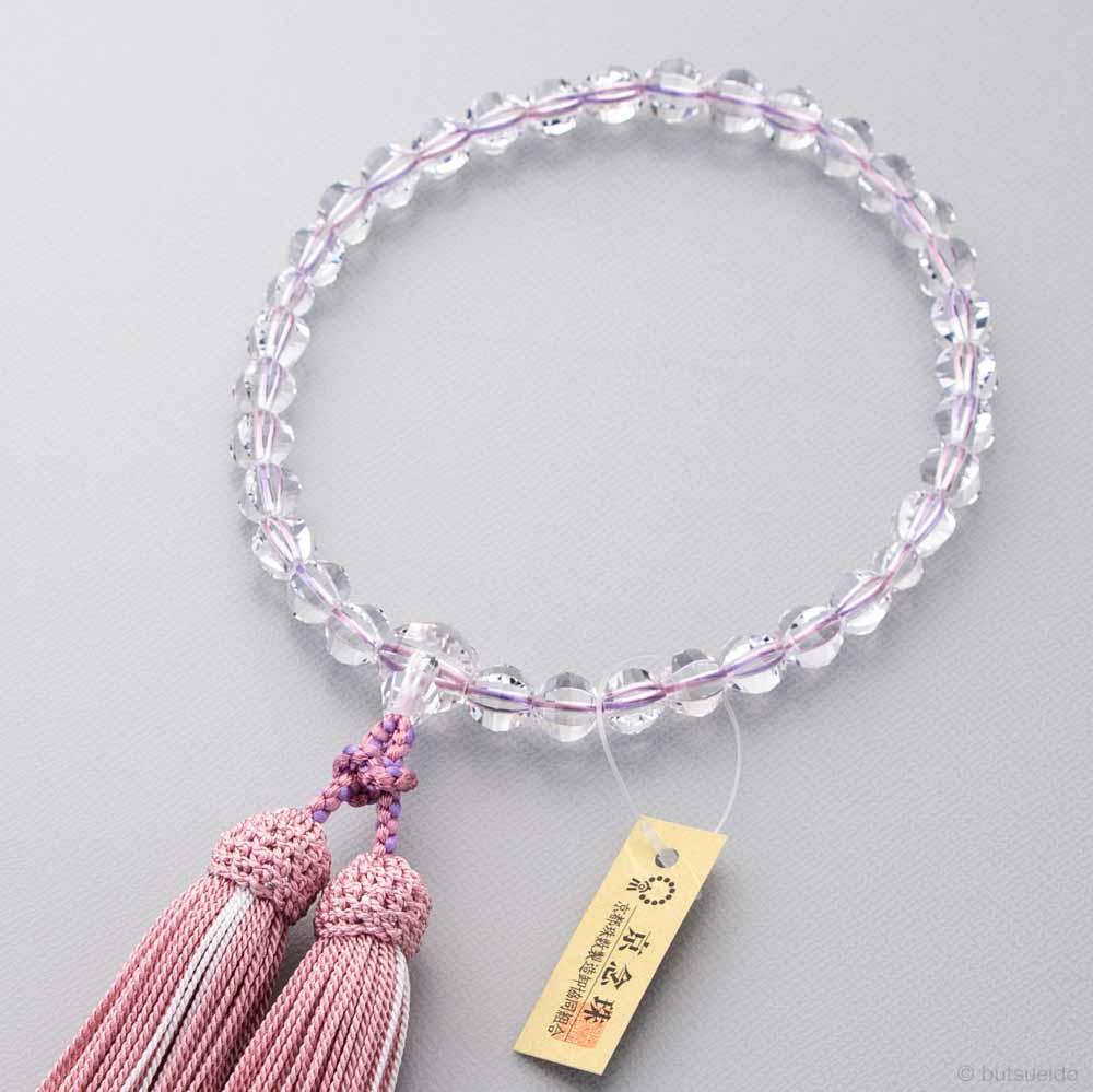 数珠 女性用 本水晶ステップカット 共仕立 いろは通し 正絹蛍房