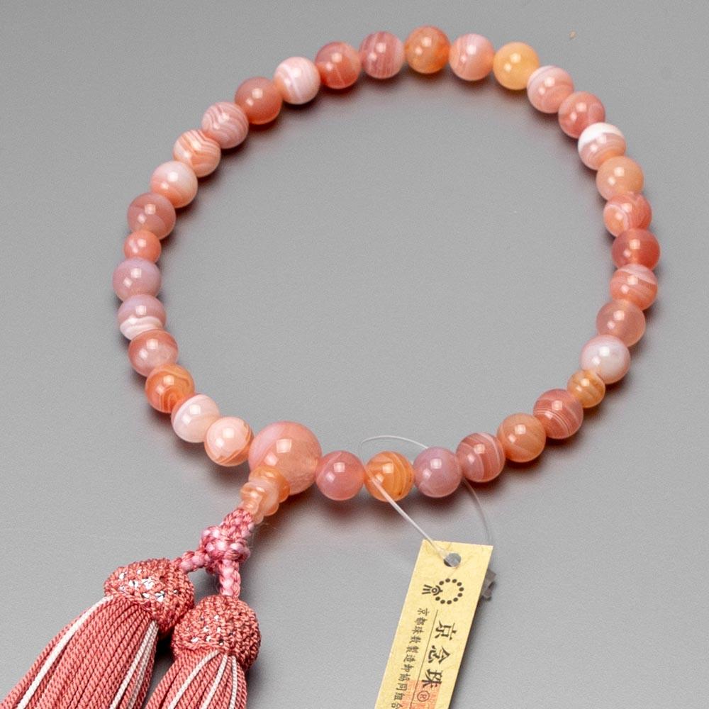 数珠 女性用 桃縞瑪瑙 8mm玉 共仕立 正絹蛍房