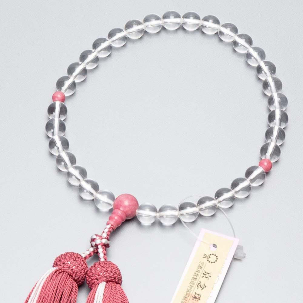 数珠 女性用 本水晶8mm玉 薔薇石仕立 正絹蛍房