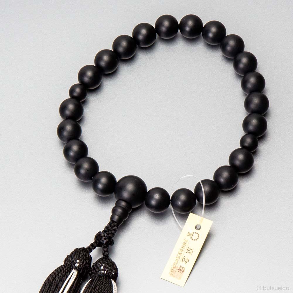 数珠 男性用 黒オニキス素挽き22玉 正絹蛍房