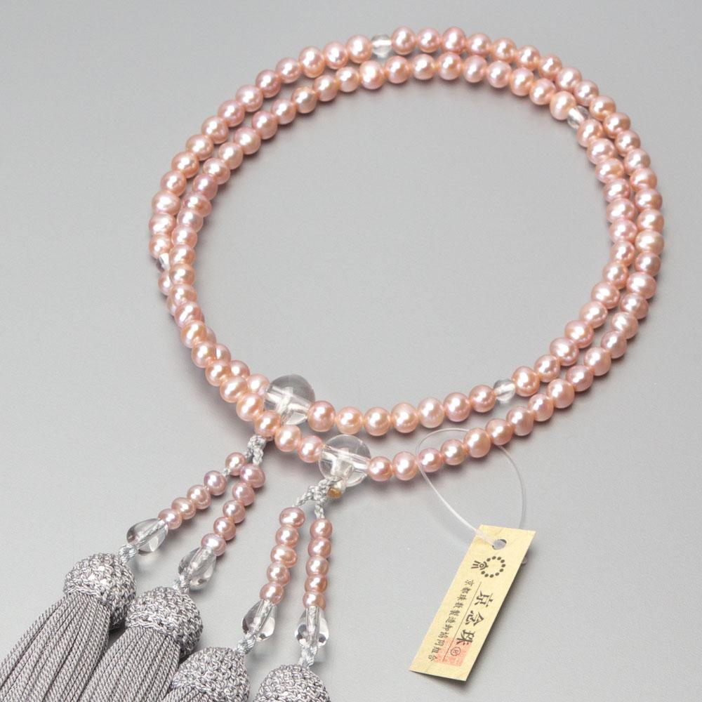 数珠 女性用二連 淡水真珠(ピンク)本水晶仕立 正絹グレー房