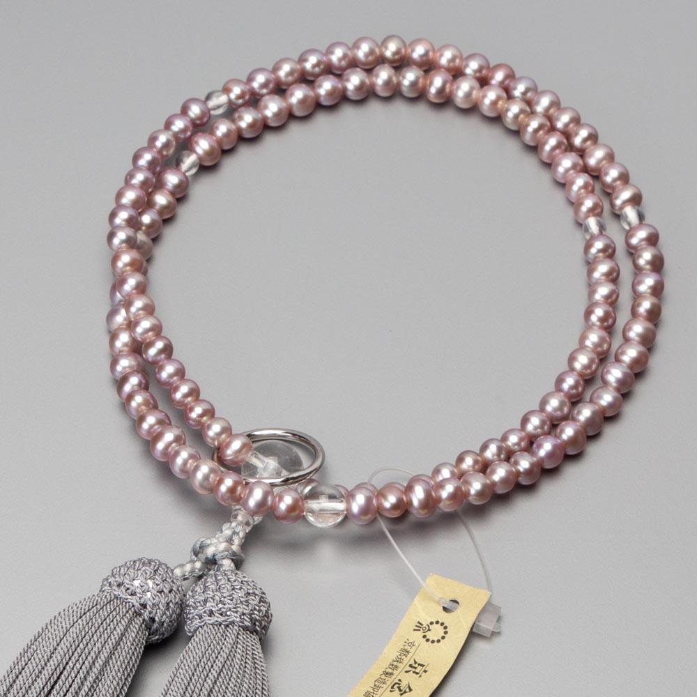 数珠 曹洞宗仕様 女性用 淡水真珠(ピンク)本水晶仕立 銀輪入 正絹グレー房