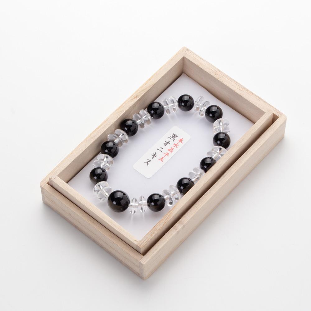 腕輪 黒オニキス10mm・本水晶平玉コンビ 桐箱入