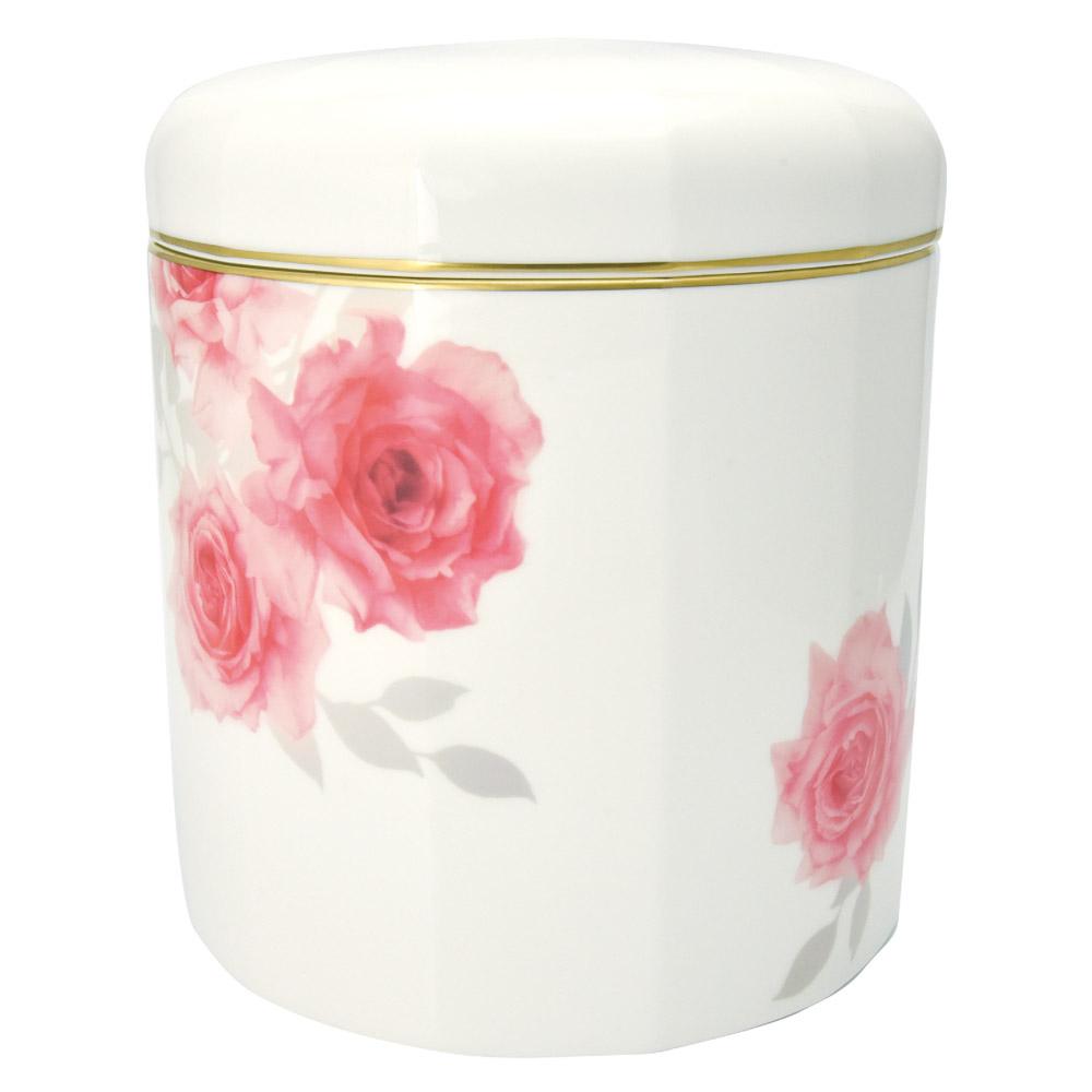 ボーンチャイナの品格あふれるハイセンスな骨壷 激安通販販売 お買い得品 手元供養 骨壷 ボーンチャイナ 6寸 赤バラ