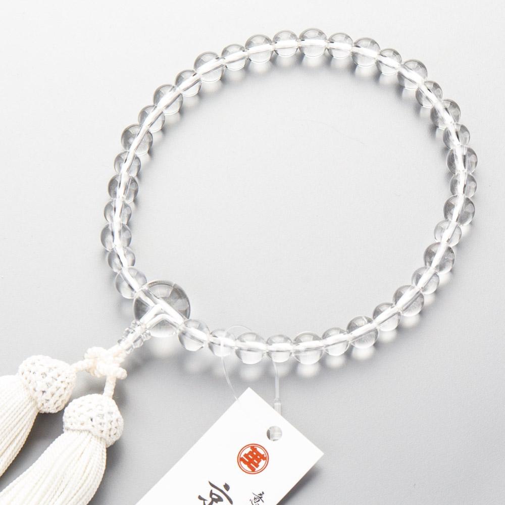 数珠 女性用 本水晶8mm・7mm丸玉コンビ 共・上仕立 正絹白房