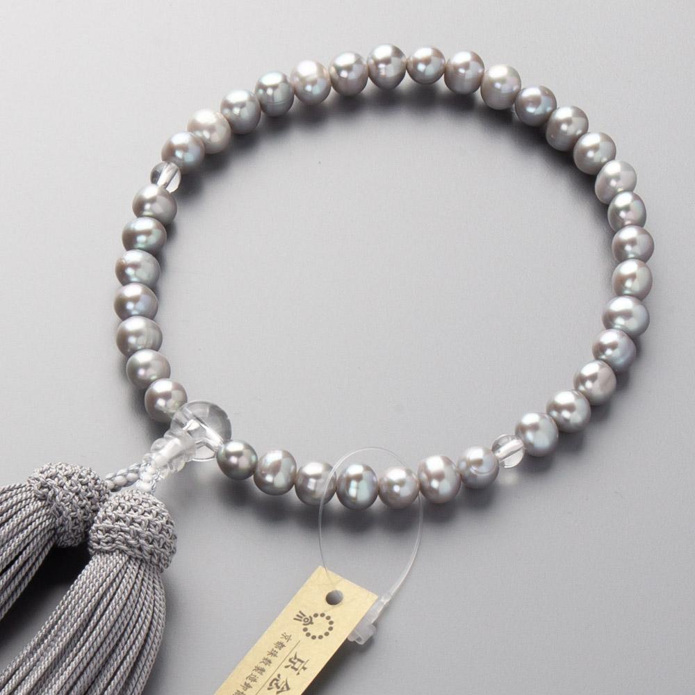 数珠 淡水真珠グレー(7mm玉) 水晶仕立