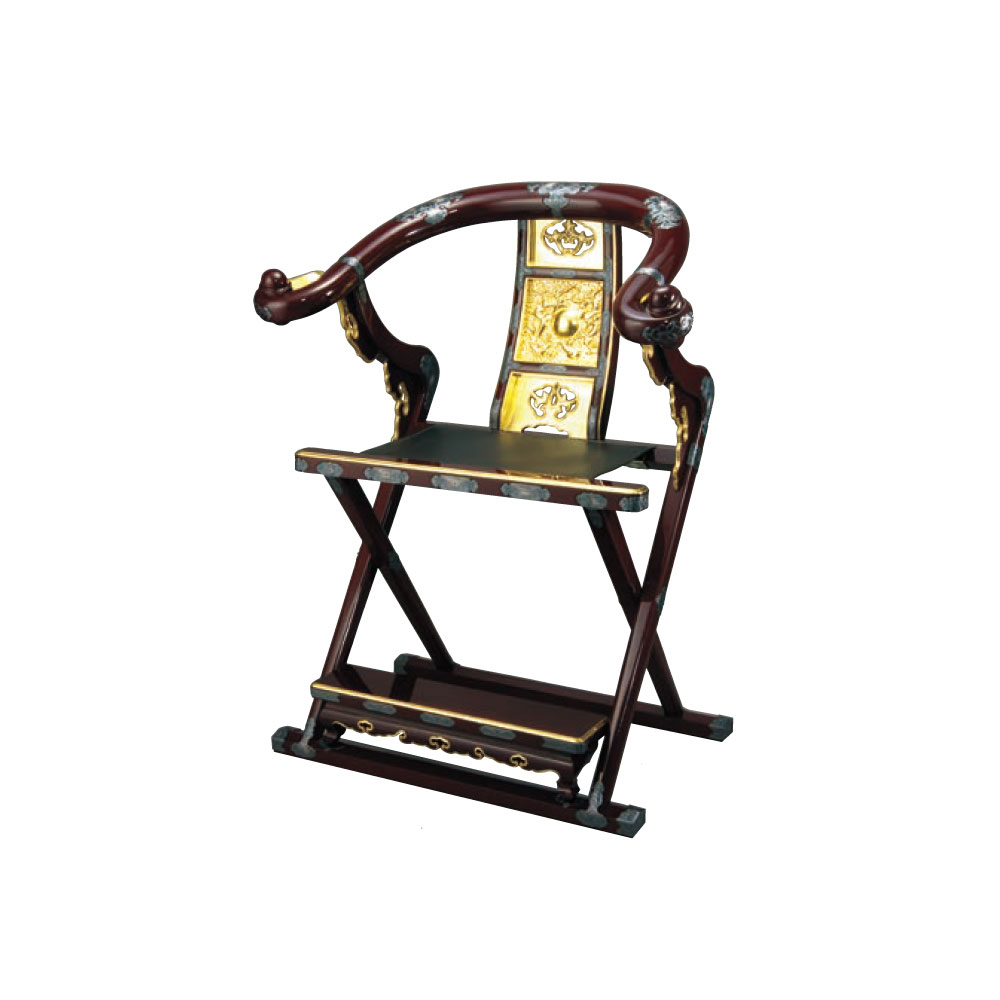 寺院用品 本曲録 PART II(金具埋め込み式)カシュー塗本金箔押/イブシ金具付 タメ塗