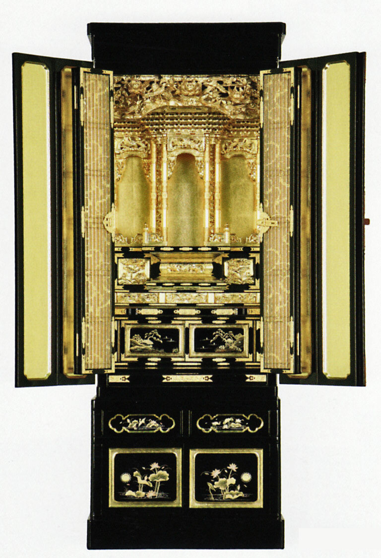 金仏壇 京型台付光輝18号 (仏具セット付) 大阪ランマ 京金具 ランマ粉 箔仕上 / 小型の 床置 型 金箔 仏壇