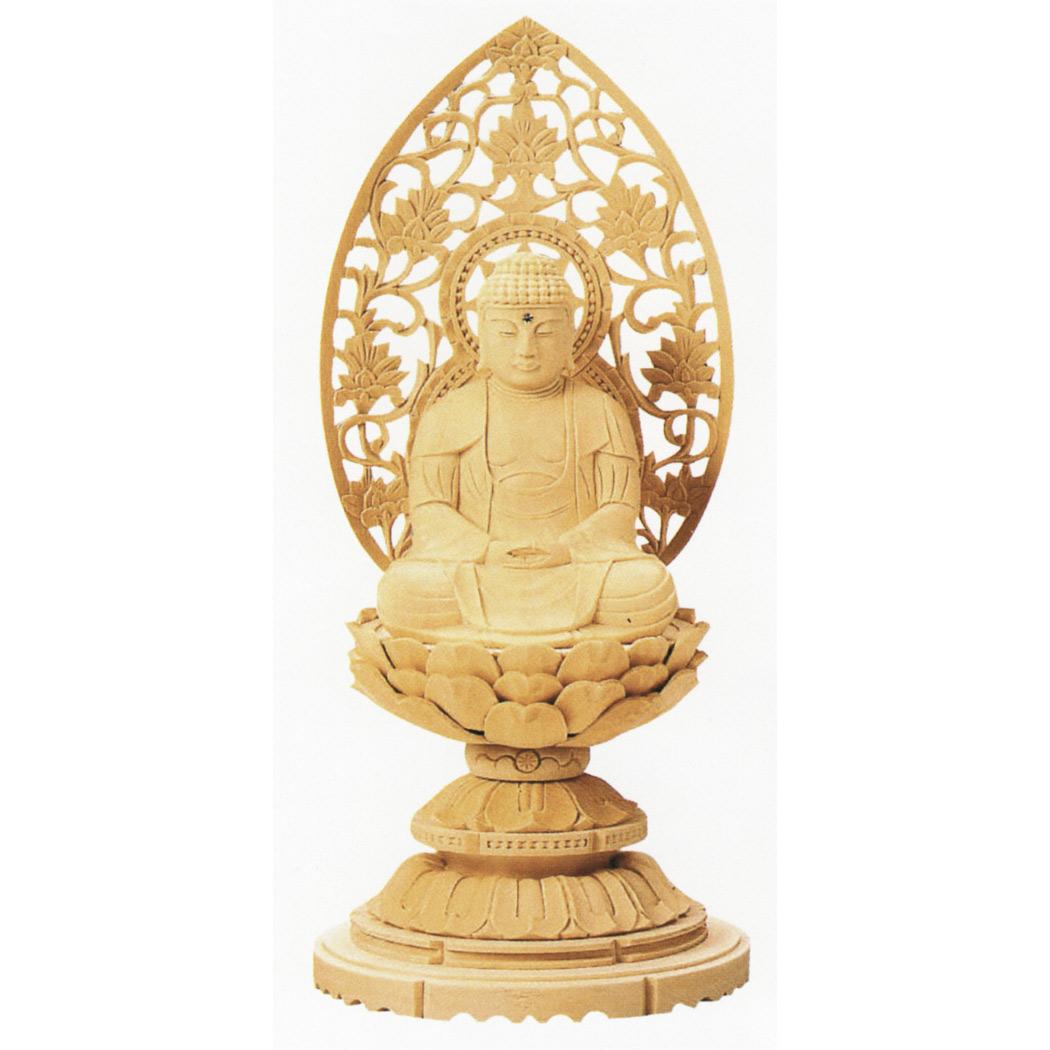 仏像 ご本尊 総白木 丸台座 座釈迦 3.0号