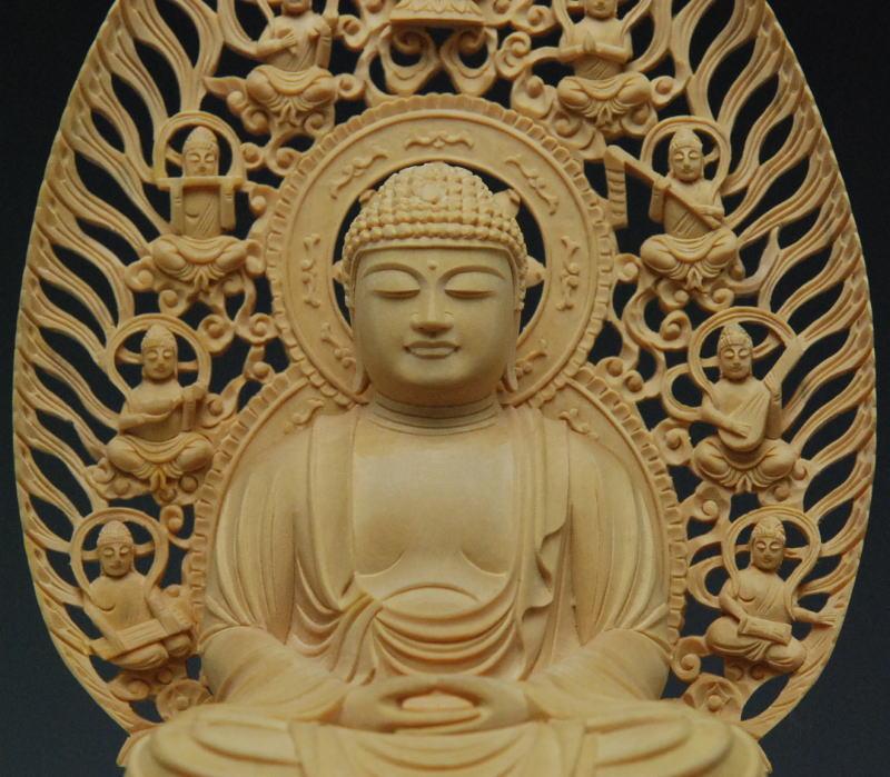 仏像 柘植 木地彫特上彫飛天光背 正八角台座 座像2.5号 k