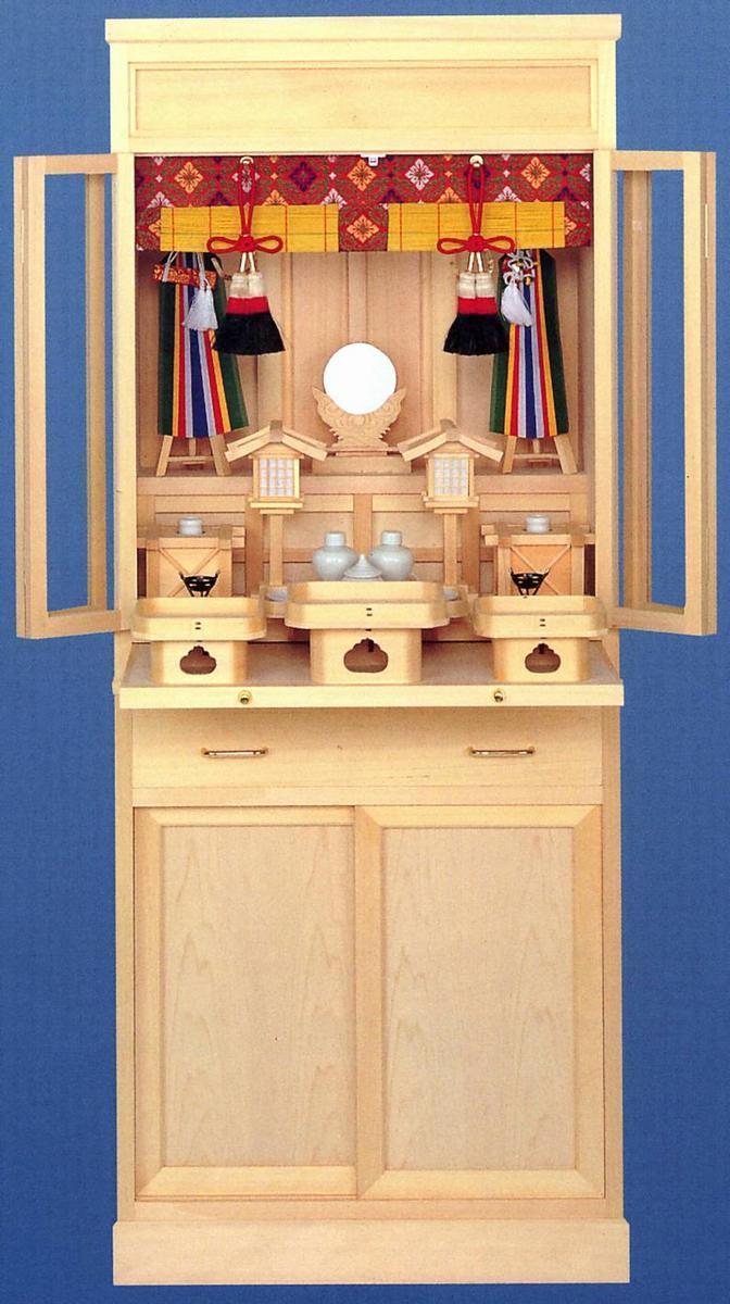 スリムな 床置 型の 御霊舎 伊勢神宮と同じ材質の 木曽桧極上 祭壇宮 「伊勢」(中)( 祖霊舎 )