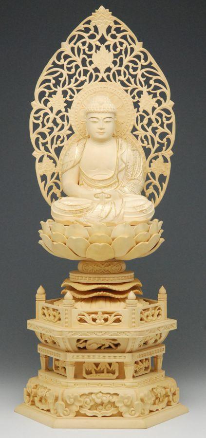 仏像 御本尊 総 柘植 (つげ)材 六角台座 2.5号 座像 金泥 (きんでい)