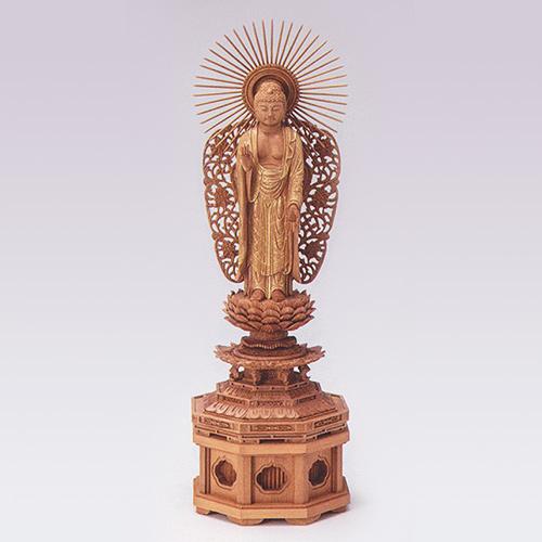 仏像 総白檀 新八角台上彫 金レイ付 寸法は増台を含んだ高さです。 西弥陀5.0号 高385×巾121×奥行98mm 増台5.0 高60